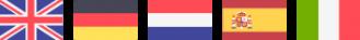 5 drapeaux alignés : Angais, allemand, hollandais, espagnol, Italien