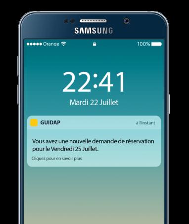 notification réservation GUIDAP sur Smartphone