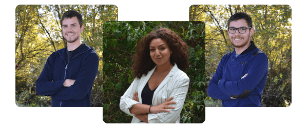 Portraits de Manu, maxime et maha de l'équipe GUIDAP