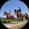 Deux personnes montent deux chevaux pendant un cours d'équitation